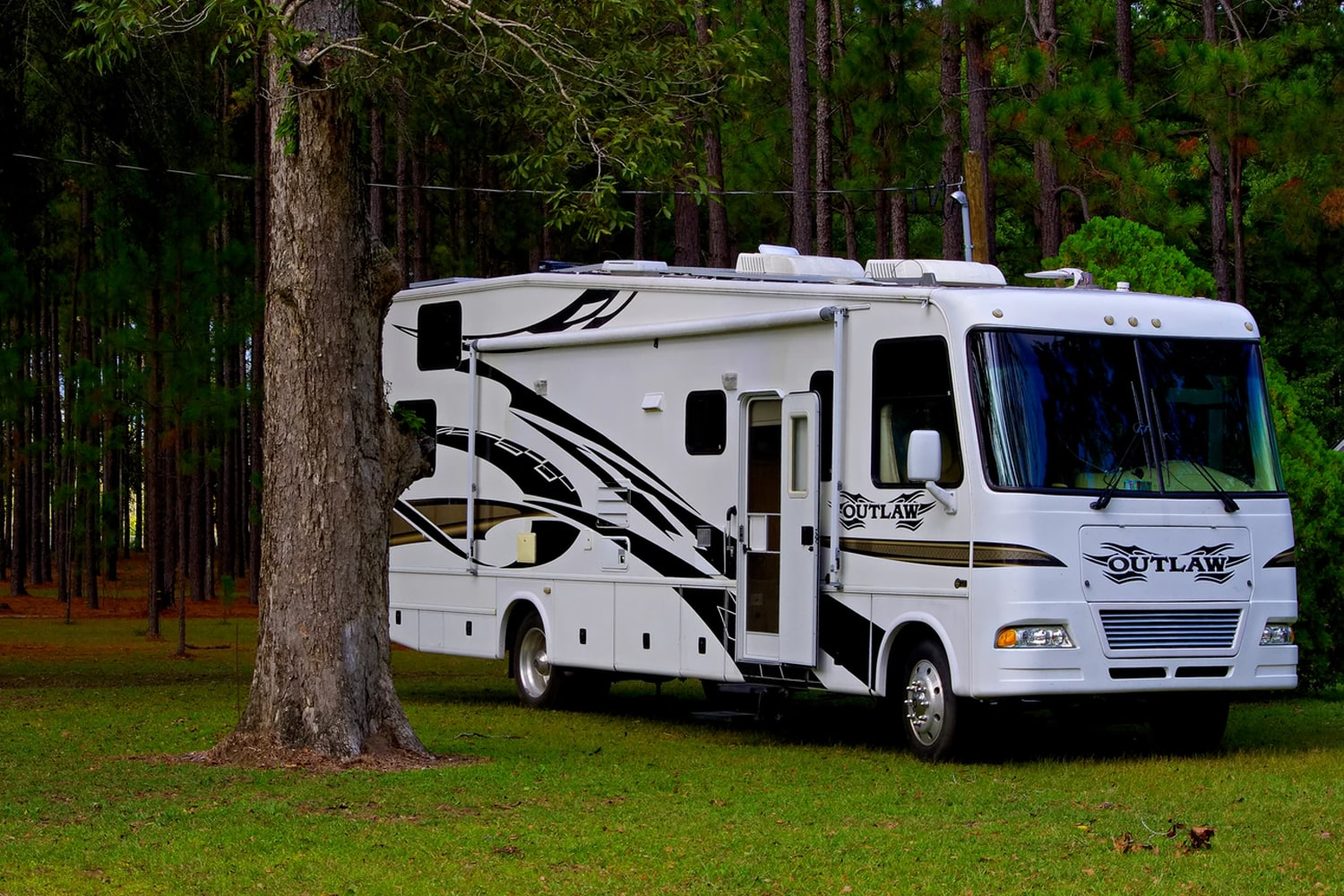 parked RV in woods