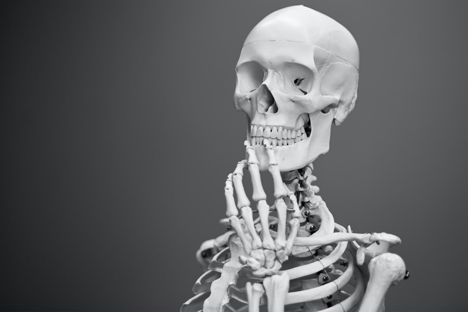 skeleton in a thinking position with black background