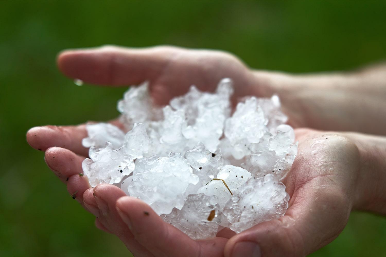 chunks of ice on hand - hail
