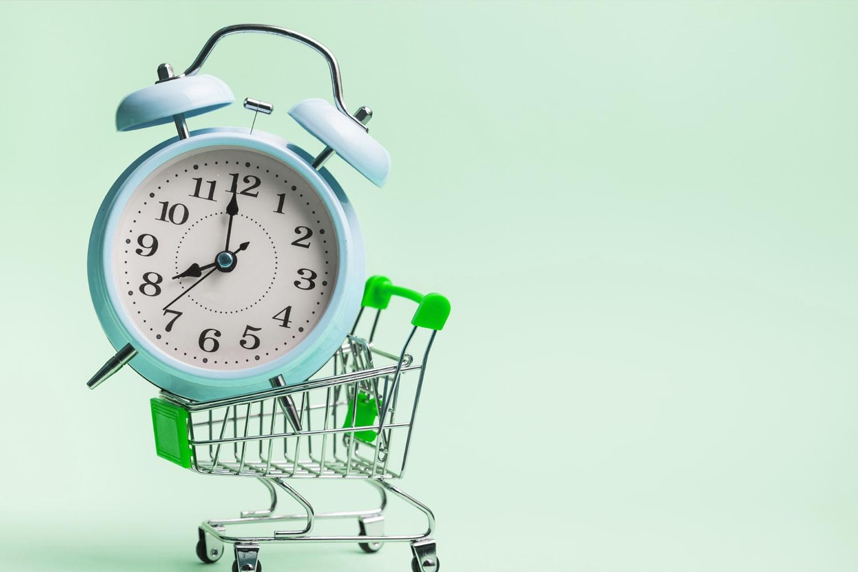 clock on cart