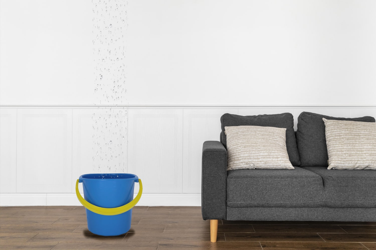 Bucket in living room catching water from roof leak