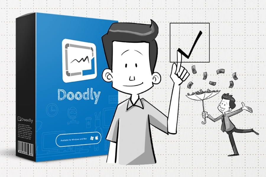 Doodly software box with a few characters