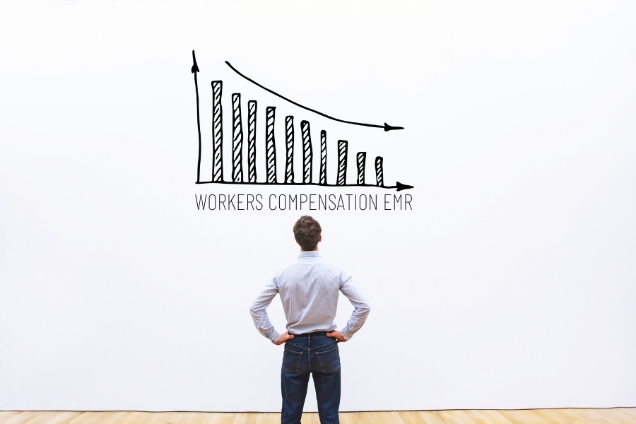 man looking at workers compensation EMR chart